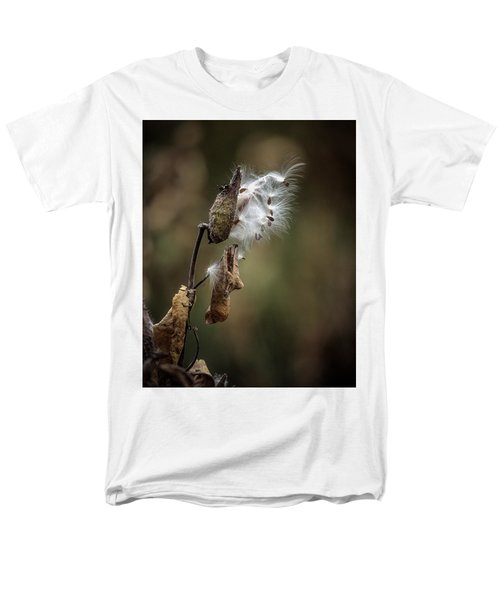 Milkweed Plant Dried And Blowing In The Wind Men's T-Shirt  (Regular Fit) by John Brink
