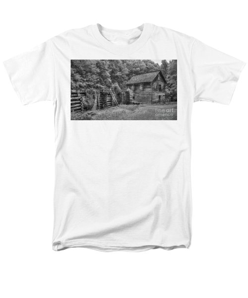 Men's T-Shirt  (Regular Fit) featuring the photograph Mingus Mill Black And White Mingus Creek Great Smoky Mountains Art by Reid Callaway