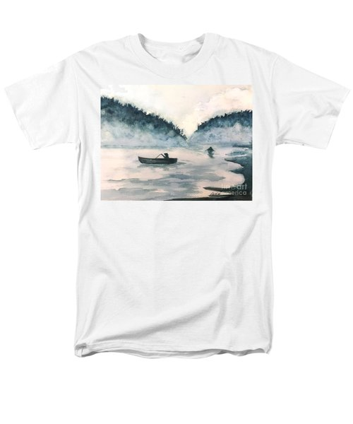 Men's T-Shirt  (Regular Fit) featuring the painting Misty Lake by Lucia Grilletto