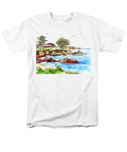Men's T-Shirt  (Regular Fit) featuring the painting Monterey Shore by Irina Sztukowski