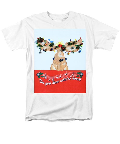 Moose Christmas Greeting Men's T-Shirt  (Regular Fit) by Sally Weigand