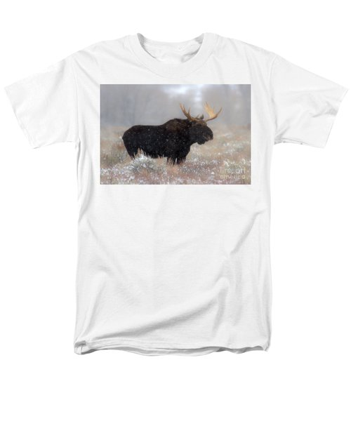 Men's T-Shirt  (Regular Fit) featuring the photograph Moose Winter Silhouette by Adam Jewell