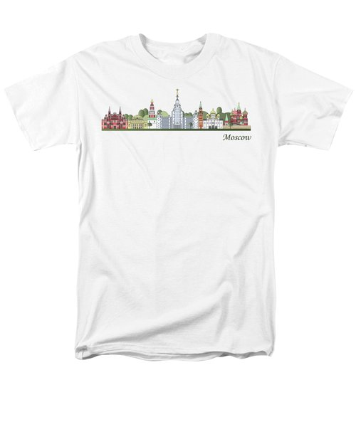 Moscow Skyline Colored Men's T-Shirt  (Regular Fit) by Pablo Romero