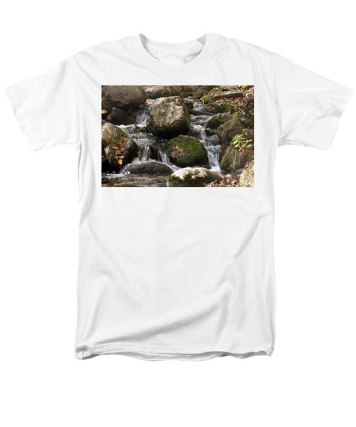 Men's T-Shirt  (Regular Fit) featuring the photograph Mountain Stream Through Rocks by Emanuel Tanjala