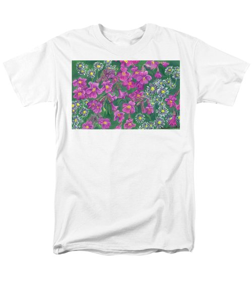 Men's T-Shirt  (Regular Fit) featuring the drawing Mountain Wild Flowers by Dawn Senior-Trask