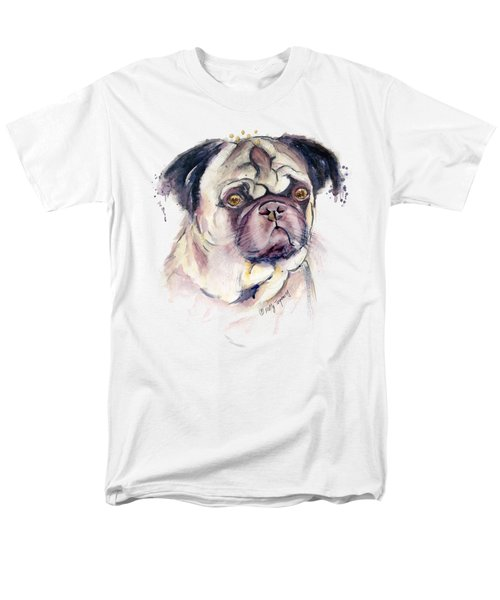 Mr Thinker Pug Watercolor Men's T-Shirt  (Regular Fit) by Melly Terpening