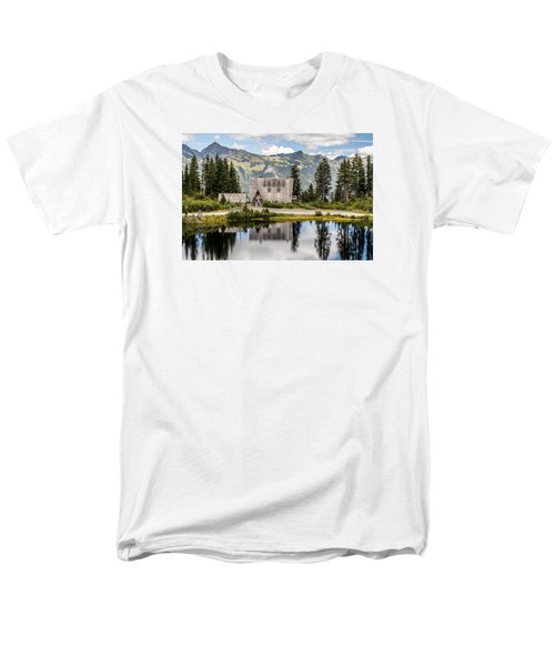Men's T-Shirt  (Regular Fit) featuring the photograph Mt Baker Lodge In Picture Lake 1 by Rob Green