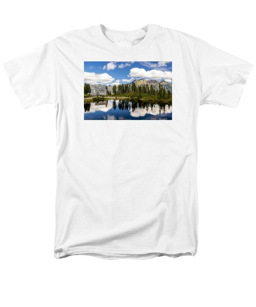 Men's T-Shirt  (Regular Fit) featuring the photograph Mt Baker Lodge Reflection In Picture Lake 2 by Rob Green