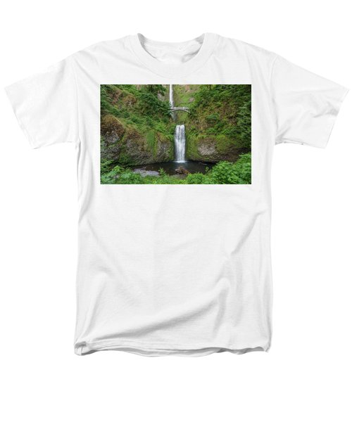 Men's T-Shirt  (Regular Fit) featuring the photograph Multnomah Falls In Spring by Greg Nyquist