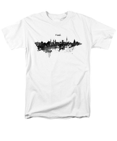 Munich Black And White Skyline Silhouette Men's T-Shirt  (Regular Fit) by Marian Voicu