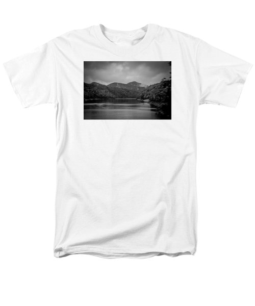 Men's T-Shirt  (Regular Fit) featuring the photograph Nantahala River Great Smoky Mountains In Black And White by Kelly Hazel