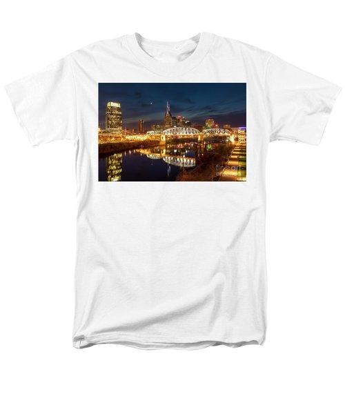 Men's T-Shirt  (Regular Fit) featuring the photograph Nashville Twilight Skyline II by Brian Jannsen