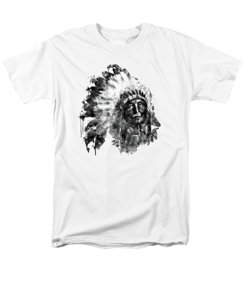 Men's T-Shirt  (Regular Fit) featuring the mixed media Native American Chief Black And White by Marian Voicu