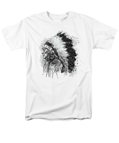Men's T-Shirt  (Regular Fit) featuring the mixed media Native American Chief Side Face Black And White by Marian Voicu