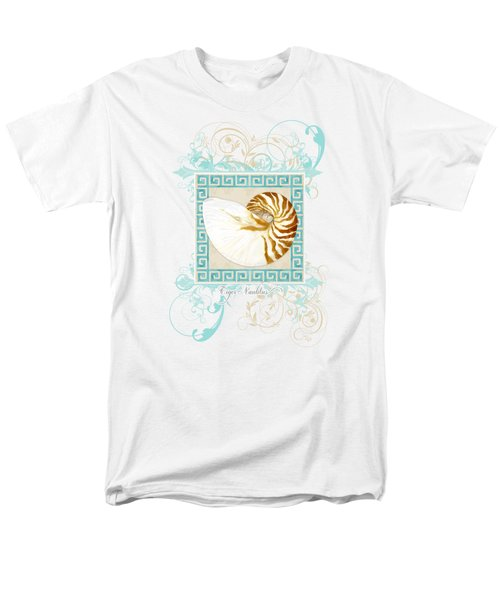 Men's T-Shirt  (Regular Fit) featuring the painting Nautilus Shell Greek Key W Swirl Flourishes by Audrey Jeanne Roberts