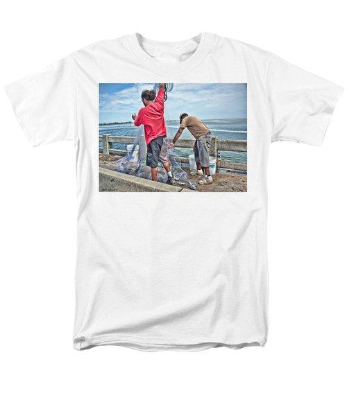 Net Fishing On Cortez Bridge  Men's T-Shirt  (Regular Fit) by Glenn Gemmell