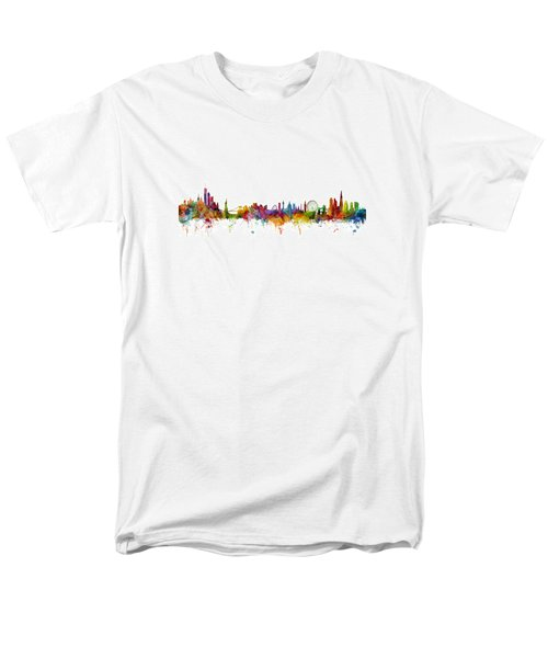 New York And London Skyline Mashup Men's T-Shirt  (Regular Fit) by Michael Tompsett