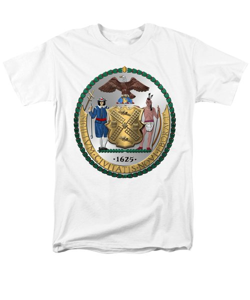 New York City Coat Of Arms - City Of New York Seal Over White Leather  Men's T-Shirt  (Regular Fit) by Serge Averbukh