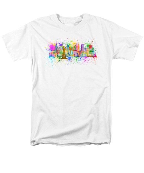 New York Skyline Paint Splatter Illustration Men's T-Shirt  (Regular Fit) by Jit Lim