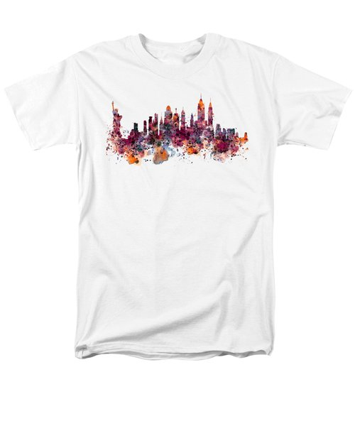 New York Skyline Watercolor Men's T-Shirt  (Regular Fit) by Marian Voicu