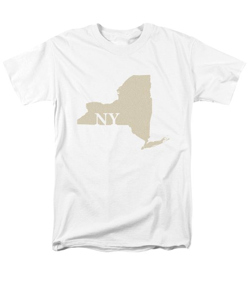 New York State Map With Text Of Constitution Men's T-Shirt  (Regular Fit) by Design Turnpike