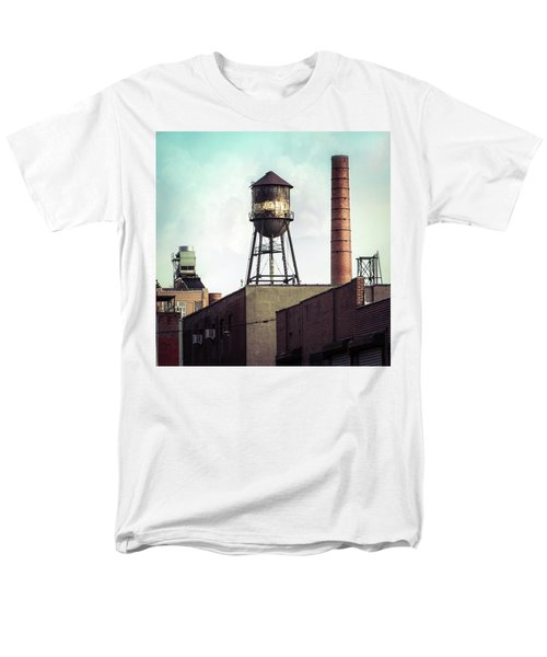 Men's T-Shirt  (Regular Fit) featuring the photograph New York Water Towers 19 - Urban Industrial Art Photography by Gary Heller