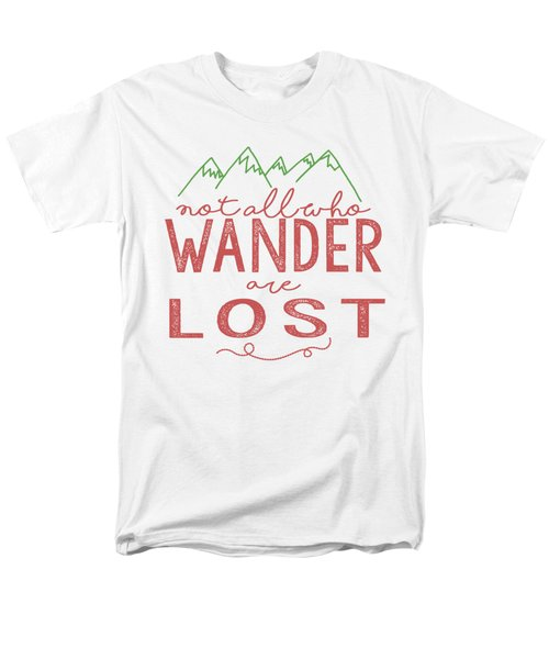 Men's T-Shirt  (Regular Fit) featuring the digital art Not All Who Wander Are Lost In Pink by Heather Applegate