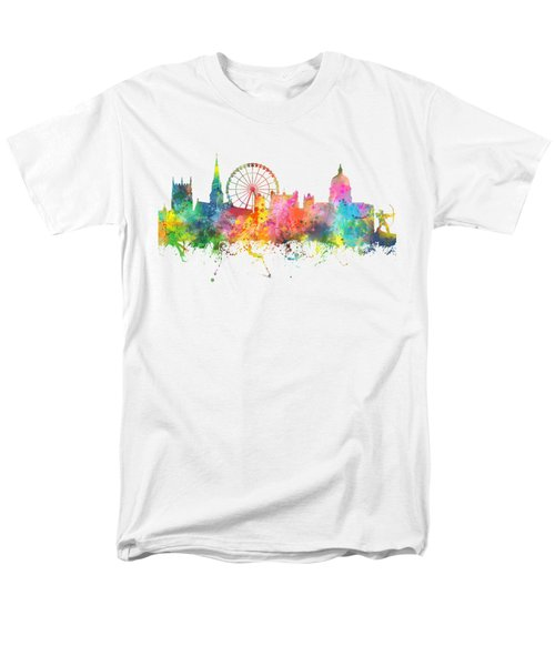Nottingham  England Skyline Men's T-Shirt  (Regular Fit) by Marlene Watson