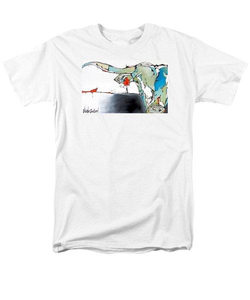 Number 17 Longhorn Steer Men's T-Shirt  (Regular Fit) by Nicole Gaitan