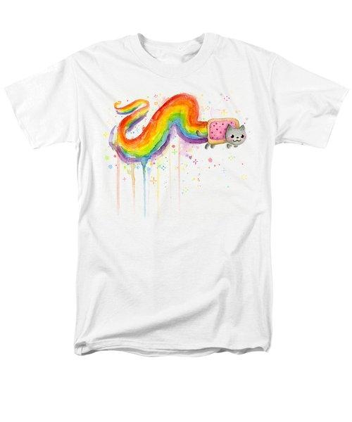 Nyan Cat Watercolor Men's T-Shirt  (Regular Fit) by Olga Shvartsur