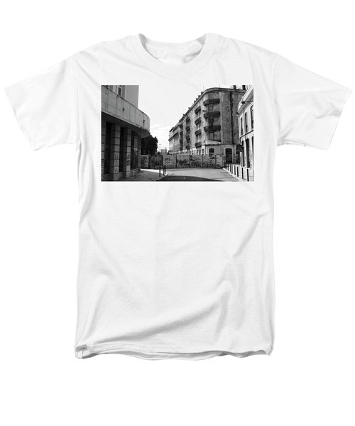 Men's T-Shirt  (Regular Fit) featuring the photograph Old Town Neighborhood In The Black And White Of Blight by Lorraine Devon Wilke
