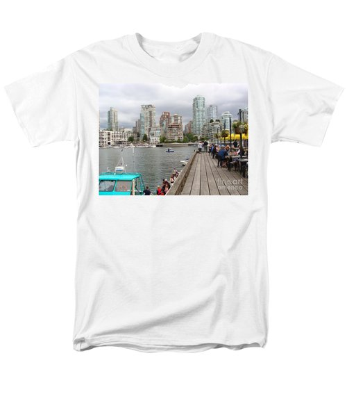 Men's T-Shirt  (Regular Fit) featuring the painting On The Water At False Creek Vancouver by Rod Jellison