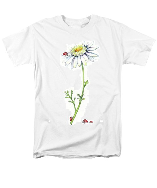 Men's T-Shirt  (Regular Fit) featuring the painting One Daisy And Four Ladybugs by Heidi Kriel