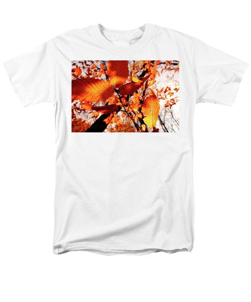 Men's T-Shirt  (Regular Fit) featuring the photograph Orange Fall Leaves by Meta Gatschenberger
