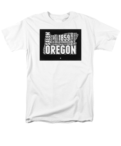 Oregon Black And White Map Men's T-Shirt  (Regular Fit) by Naxart Studio