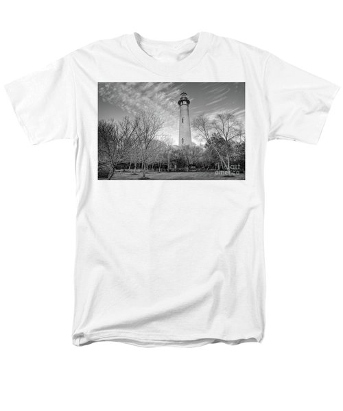 Men's T-Shirt  (Regular Fit) featuring the photograph Outer Banks Winter At The Currituck Lighthouse Bw by Dan Carmichael
