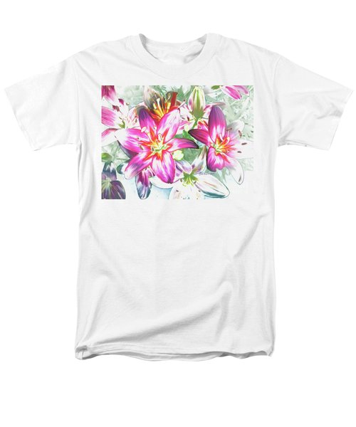 Painterly Pink Tiger Lilies Men's T-Shirt  (Regular Fit) by Annie Zeno