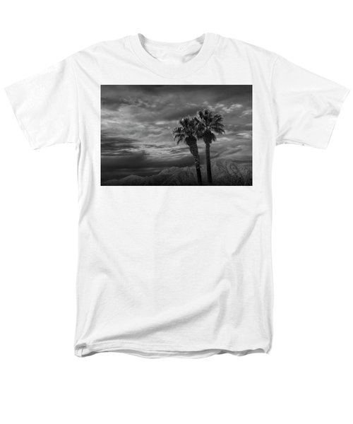 Men's T-Shirt  (Regular Fit) featuring the photograph Palm Trees By Borrego Springs In Black And White by Randall Nyhof