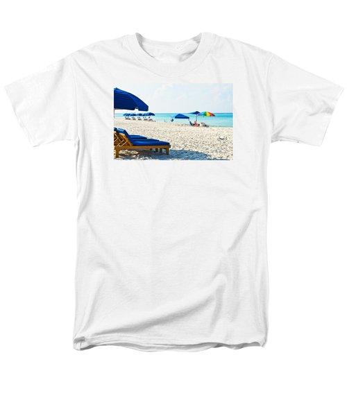 Panama City Beach Florida With Beach Chairs And Umbrellas Men's T-Shirt  (Regular Fit) by Vizual Studio