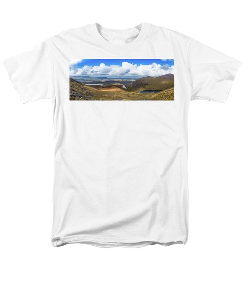 Men's T-Shirt  (Regular Fit) featuring the photograph Panorama Of Valleys And Mountains In County Kerry On A Summer Da by Semmick Photo