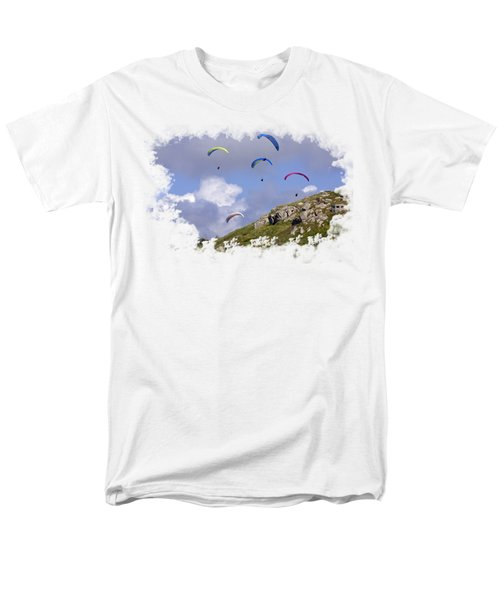 Paragliding Over Sennen Cove On Transparent Background Men's T-Shirt  (Regular Fit) by Terri Waters