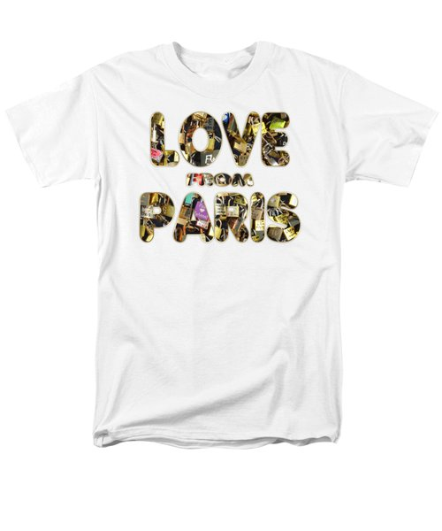 Men's T-Shirt  (Regular Fit) featuring the painting Paris City Of Love And Lovelocks by Georgeta Blanaru