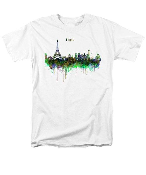 Paris Skyline Watercolor Men's T-Shirt  (Regular Fit) by Marian Voicu