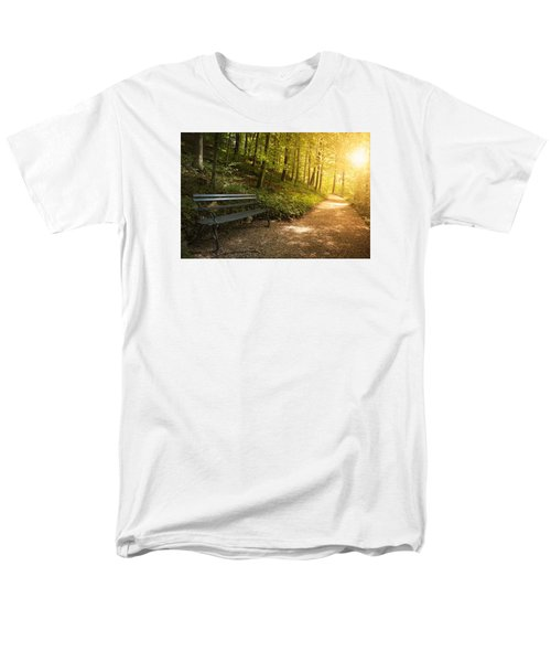 Men's T-Shirt  (Regular Fit) featuring the photograph Park Bench In Fall by Chevy Fleet