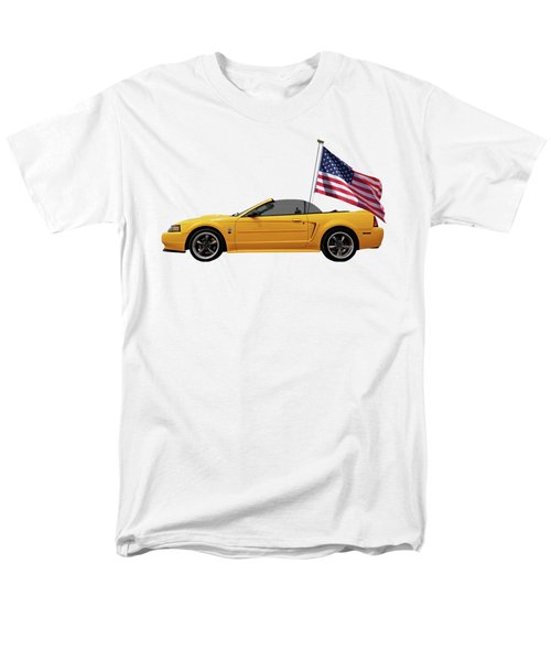 Men's T-Shirt  (Regular Fit) featuring the photograph Patriotic Yellow Mustang With Us Flag by Gill Billington