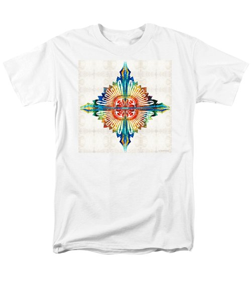 Men's T-Shirt  (Regular Fit) featuring the painting Pattern Art - Color Fusion Design 1 By Sharon Cummings by Sharon Cummings