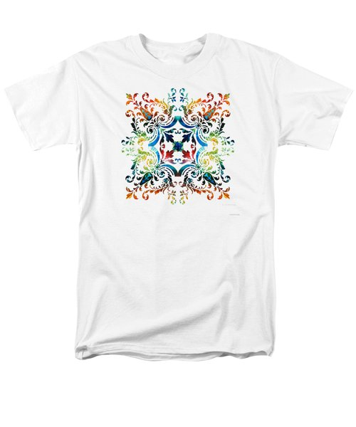Men's T-Shirt  (Regular Fit) featuring the painting Pattern Art - Color Fusion Design 7 By Sharon Cummings by Sharon Cummings
