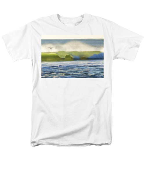 Men's T-Shirt  (Regular Fit) featuring the photograph Pelican Flying Over Wind Wave by John A Rodriguez