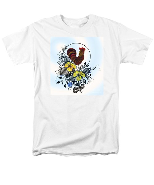 Pen And Ink Drawing Rooster Art Watercolor And Digital Art Men's T-Shirt  (Regular Fit) by Saribelle Rodriguez