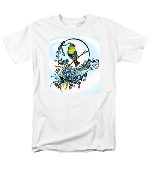 Men's T-Shirt  (Regular Fit) featuring the drawing Pen And Ink Art, Colorful Goldfinch, Watercolor And Digital Art, Wall Art, Home Decor Design by Saribelle Rodriguez